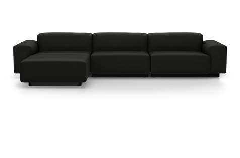 Black Soft Modular Sofa with Three Divisions