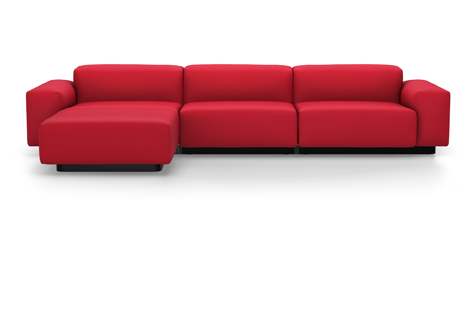 Brick Red Soft Modular Sofa with Three Divisions