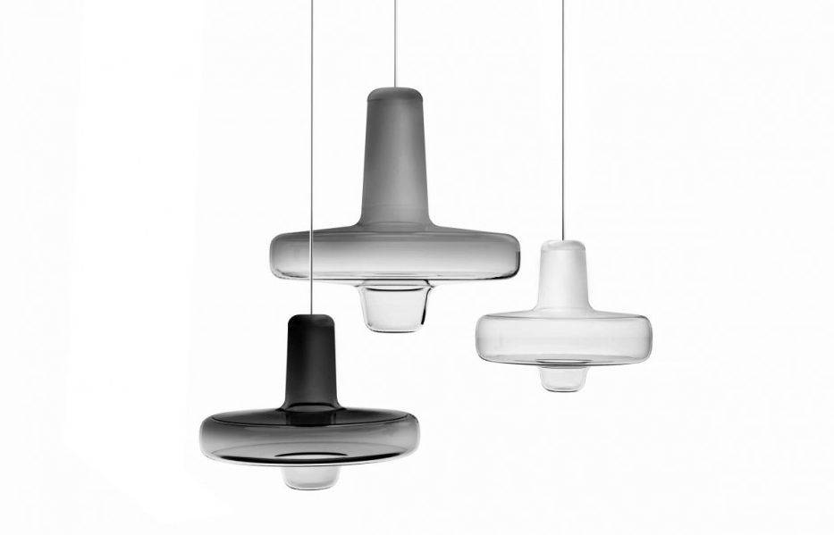 Trio of Spin Lights with Various Grey Coloured Glass Tops and Clear Glass Bodies