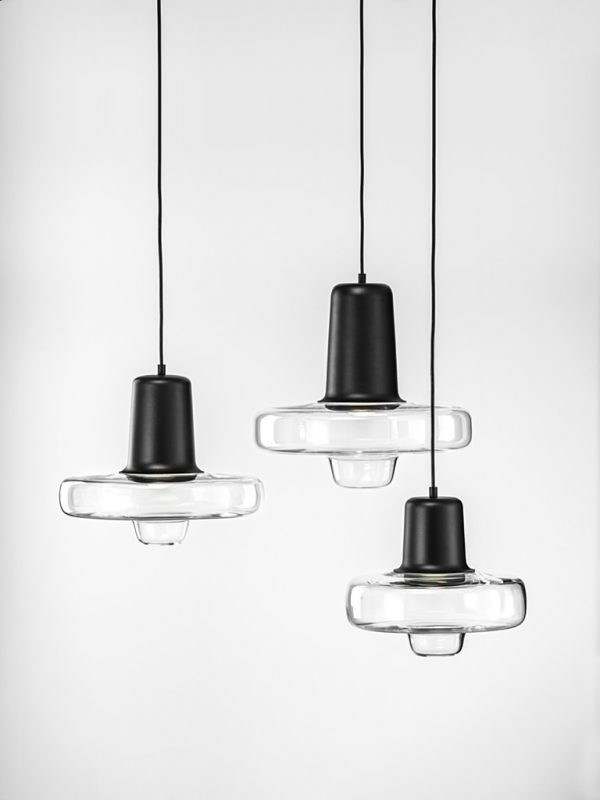 Trio of Spin Lights with Black Coloured Opaque Tops and Clear Glass Bodies