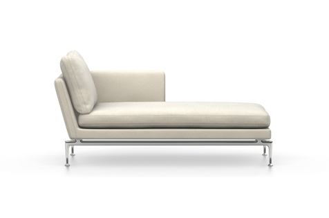 White Suita Chaise Longue with Metal Legs