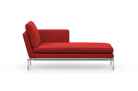 Cinnabar Red Suita Chaise Longue with Metal Legs