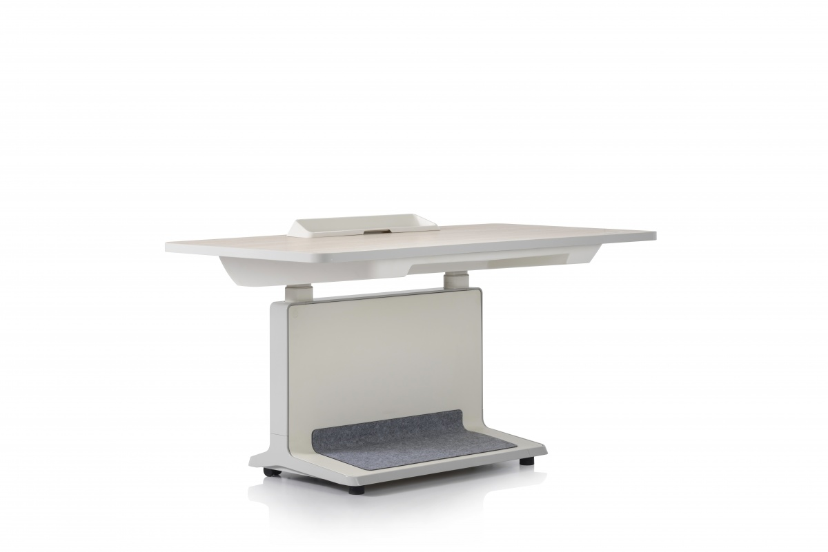 White T2 Desk and Built-In LED Clock