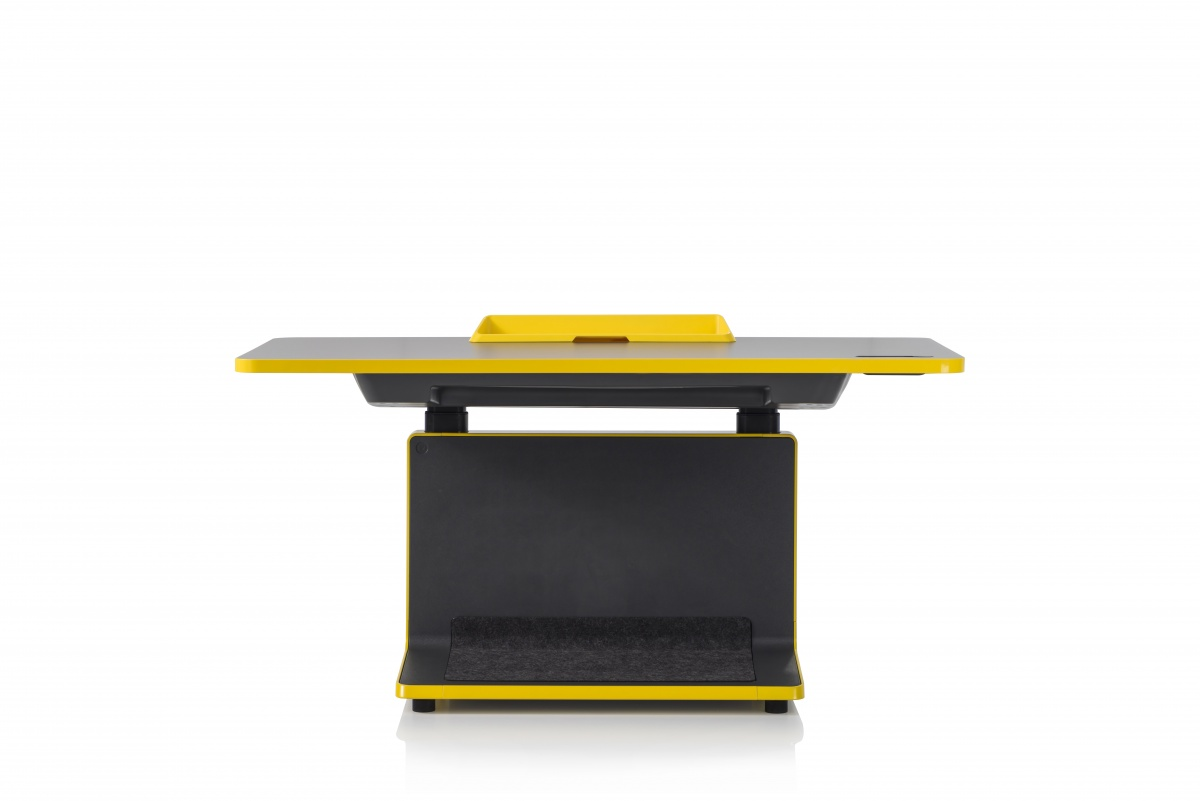 T2 Desk with Yellow Piping and Built-In LED Clock