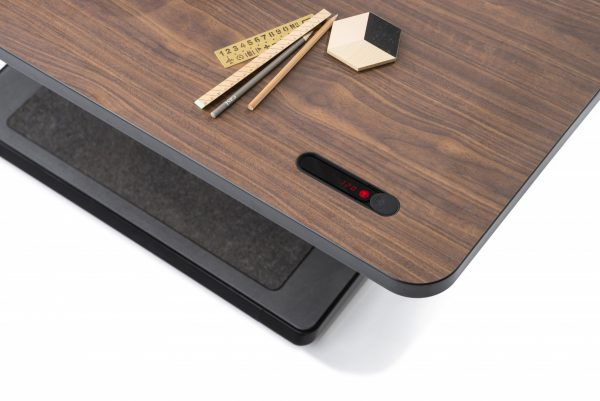 T2 Desk with Wood Pattern and Built-In LED Clock