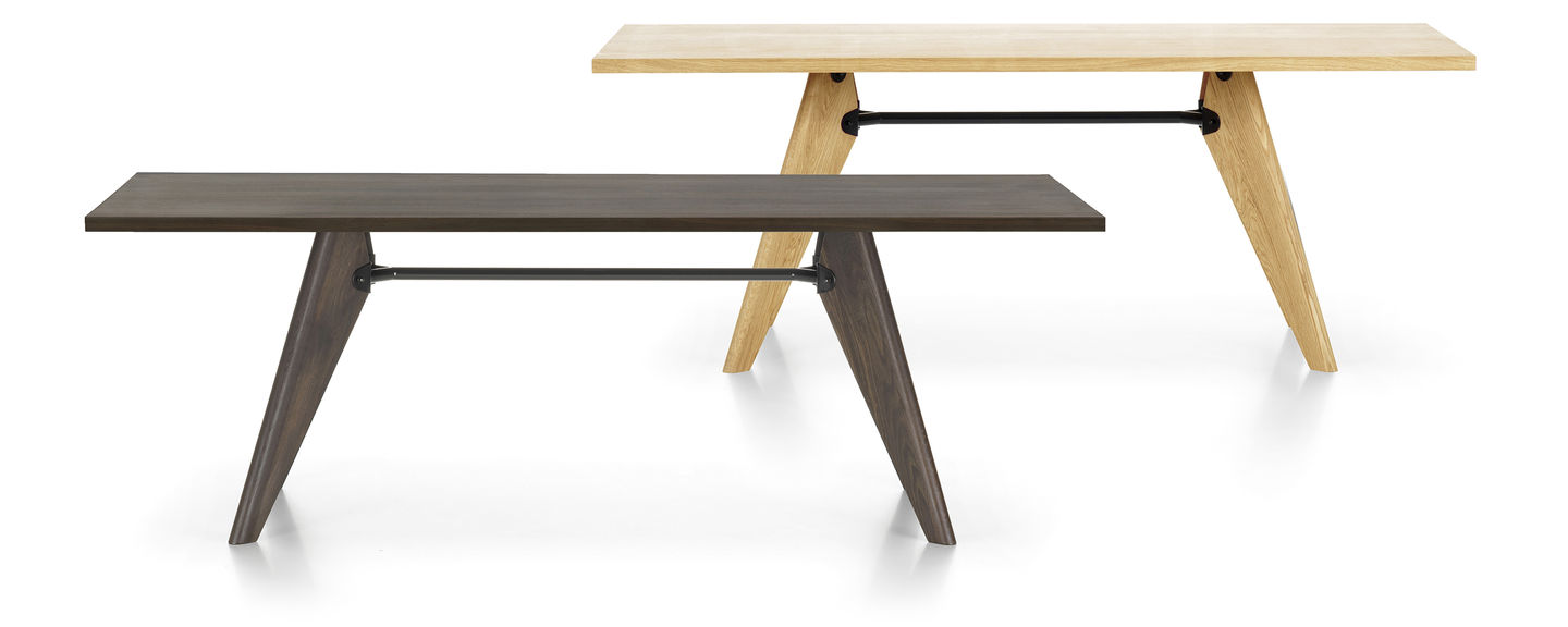 Table Solvay with metal support, featured in dark brown and light brown