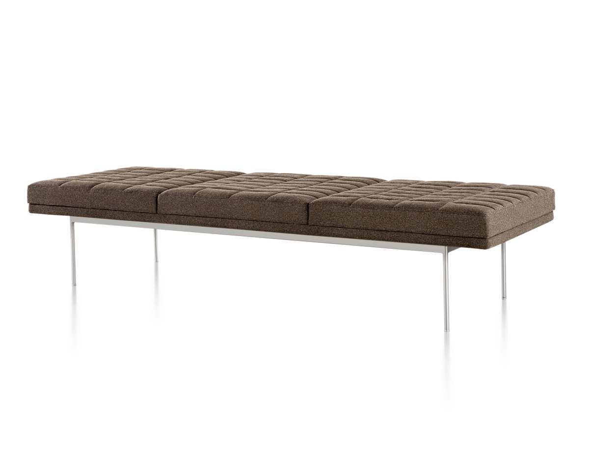Brown Tuxedo Bench with moulded plywood frame and metal legs