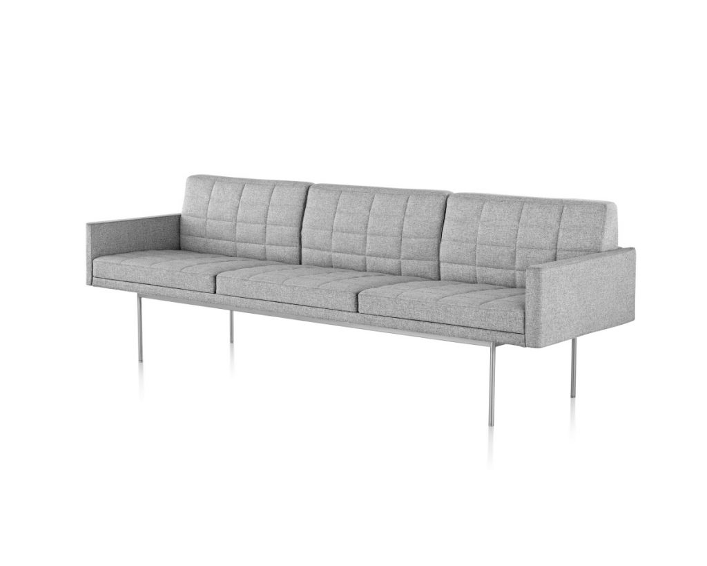 White Tuxedo Sofa with Brushed Metal Legs
