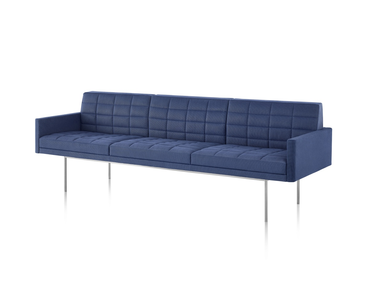 Chambray Blue Tuxedo Sofa with Brushed Silver Metal Legs