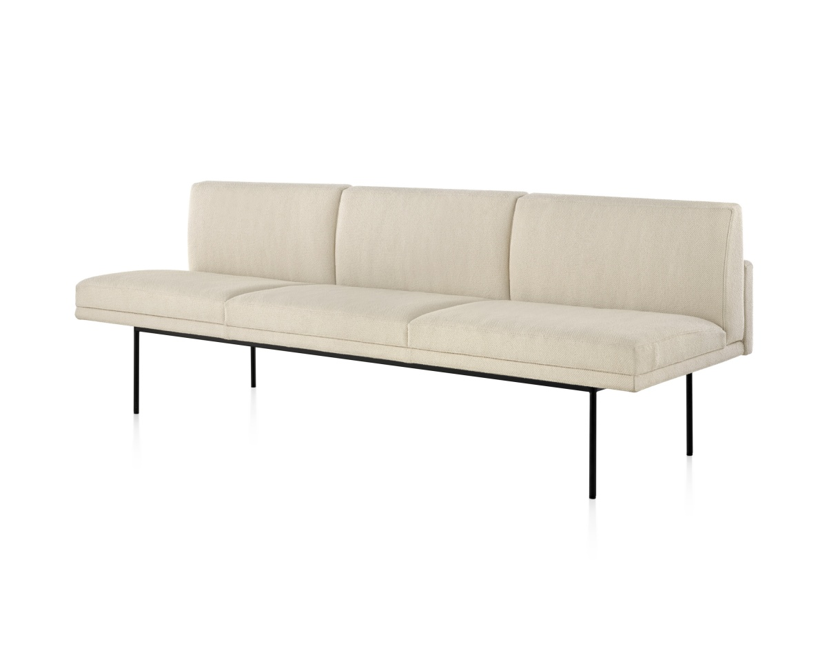Aths special white tuxedo sofa with black metal legs
