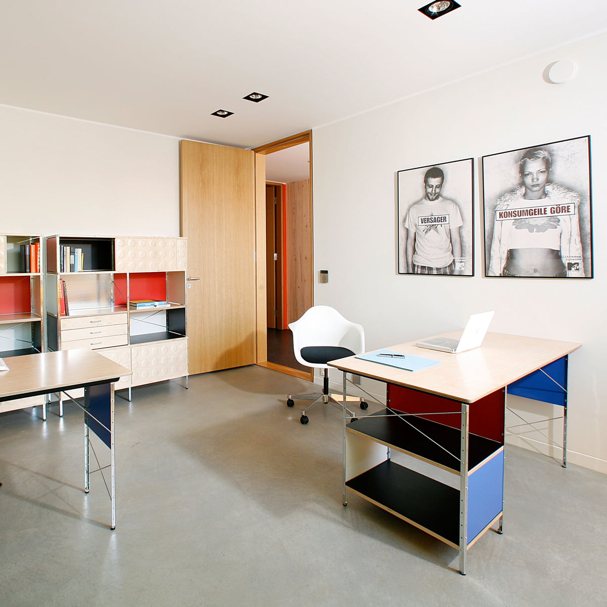 Eames Desk and Storage Unit featured in an office setting with other furniture
