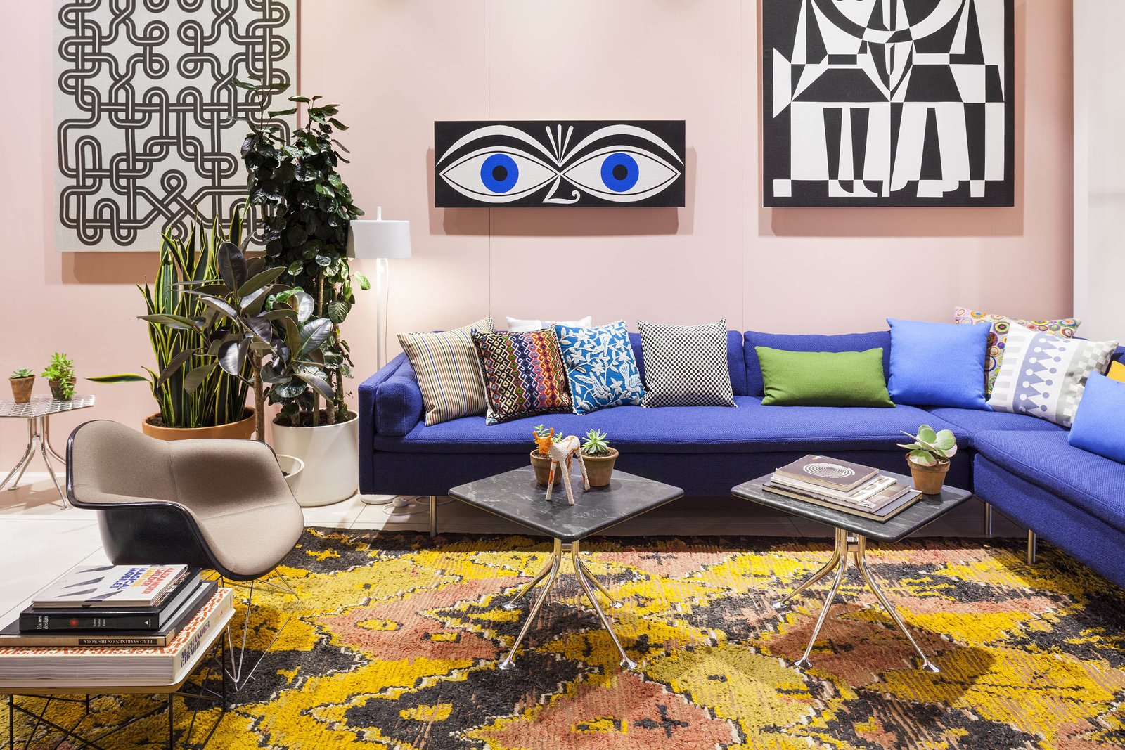 Girard Environmental Enrichment Panels of Eyes Illustration featured in a living room with other furniture