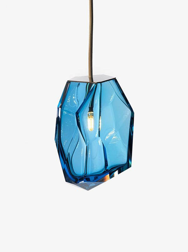 Blue Crystal Rock Single Lamp with lit bulb