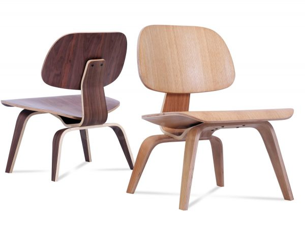 Light-Coloured Eames Moulded Plywood Lounge Chair with Moulded Plywood Legs