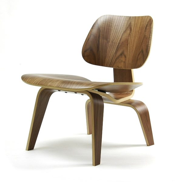 Mahogany-coloured Eames Moulded Plywood Lounge Chair with Plywood Moulded Legs