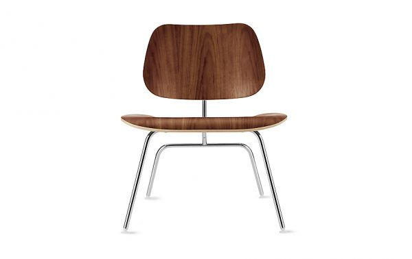 Dark Brown Eames Moulded Plywood Lounge Chair with Metal Legs