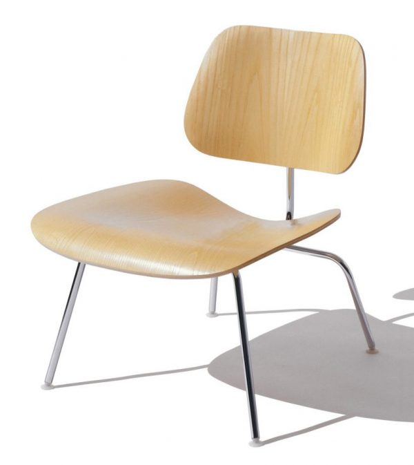 Beige Eames Moulded Plywood Lounge Chair with metal legs