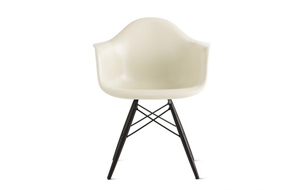 White Eames Moulded Fiberglass Chair with Black Moulded Plywood Legs and Metal Support