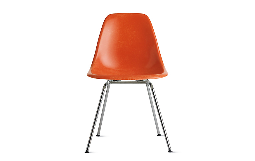 Orange Eames Moulded Fiberglass Chair with Metal Legs