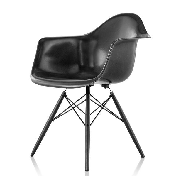 Black Eames Moulded Fiberglass Chair with Moulded Plywood Legs and Metal Support