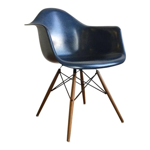 Navy Blue Eames Moulded Fiberglass Chair with Moulded Plywood Legs and Metal Support