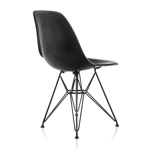 Black Eames Moulded Fiberglass Chairs with Metal Legs and Support