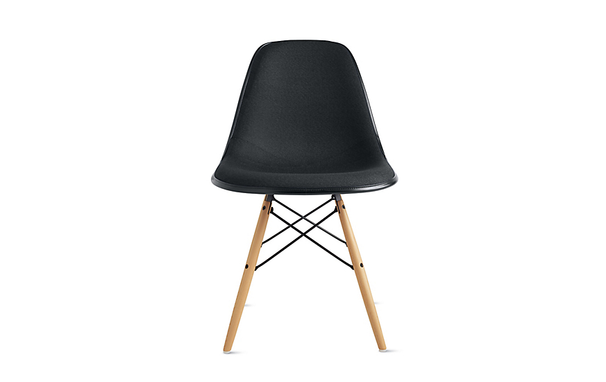 Black Eames Moulded Fiberglass Chair with Brushed Wood Legs and Metal Support
