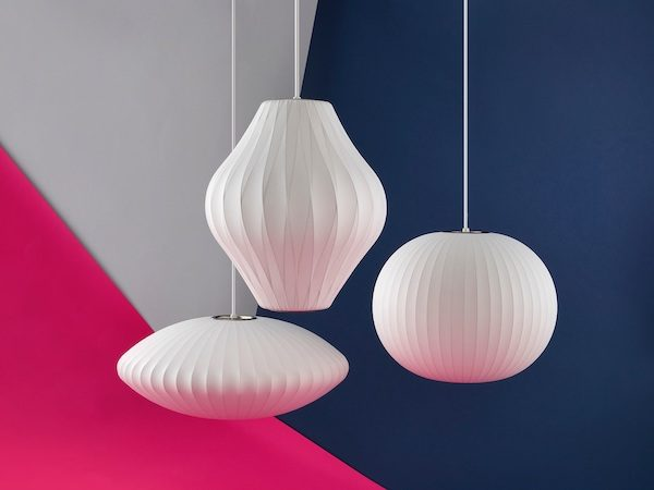 White Nelson Triple Bubble Lamps