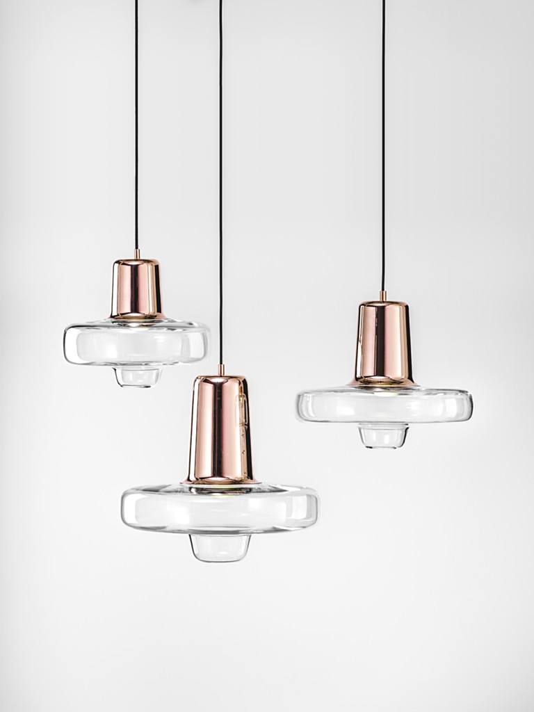 Trio of Spin Lights with Rose Coloured Glass Tops and Clear Glass Bodies
