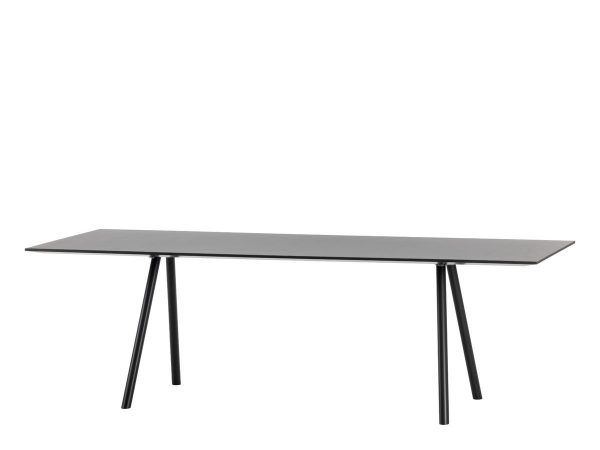 Rectangular A-Table with Brushed Black Tabletop and Legs