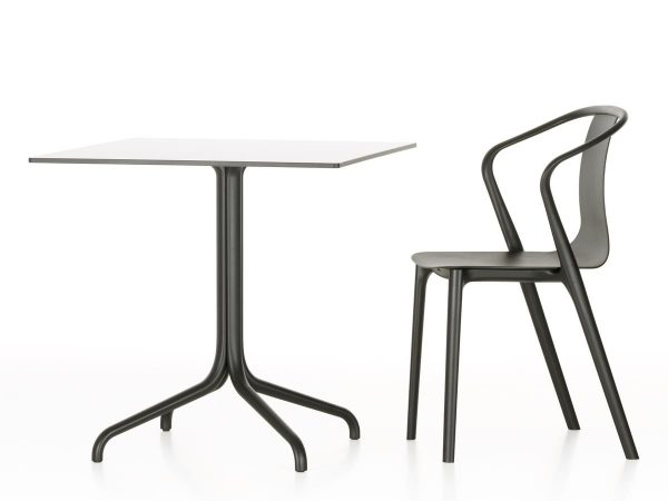 Rectangular Belleville Table with white tabletop and dark metal legs, featured with other furniture