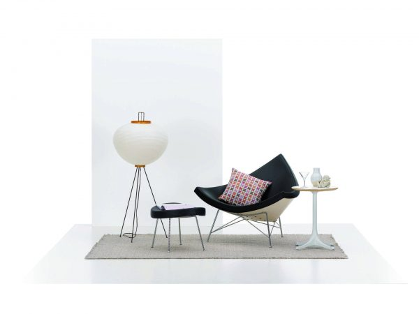 Blue Nelson Coconut Chair with white frame and metal support and legs