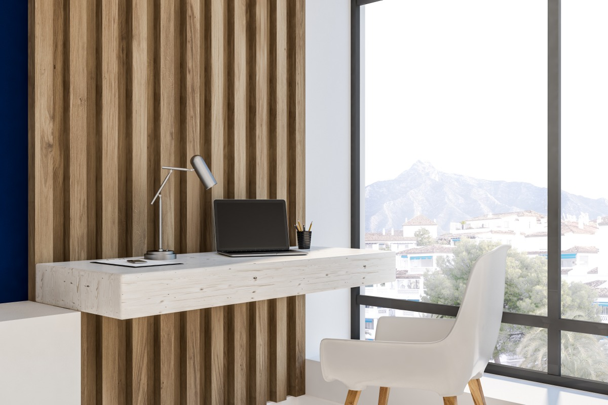 home office with wooden walls