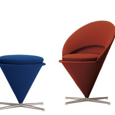 Cone Lounge Chair in Blue, Dark Red, and Orange