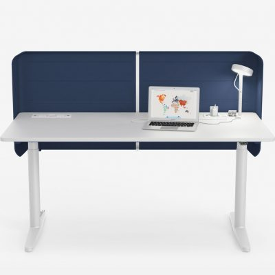 White Tyde Sit-Stand Table with Blue Divider