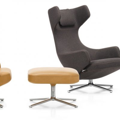 Grand Repos Lounge Chair with ottoman in tan and black colours