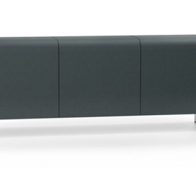 Dark Blue Bench without Backrest or Armrest, with Steel Legs