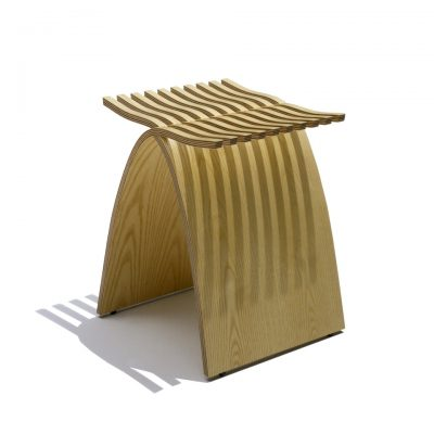 Light-Coloured Slatted Capelli Stool