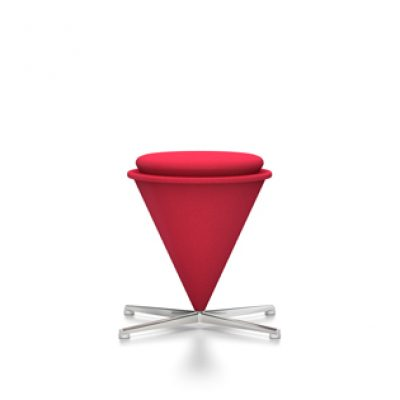Red Cone Stool with Silver-Coloured Legs