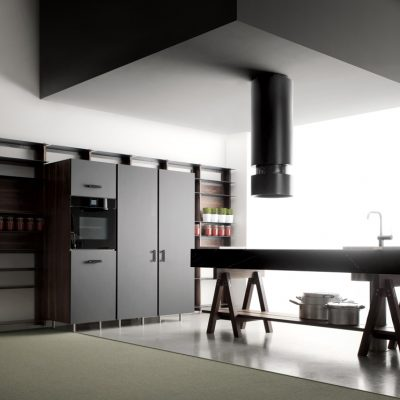 Dark Grey Dolmen Island Kitchen with white accent blocks and wooden legs and open shelf
