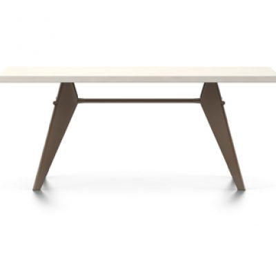 Rectangular EM Table with White Tabletop and Coffee-Coloured Legs