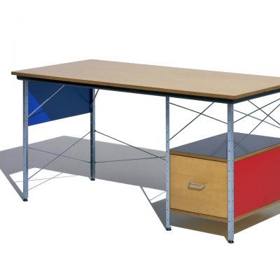 Eames Desk with Blue Paneling, Red Drawer and Metal Support and Bottom Shelf