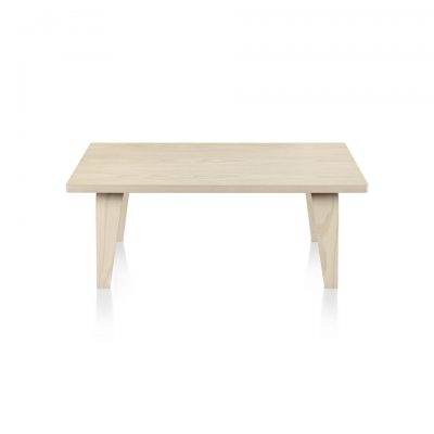 Rectangular Eames Coffee Table with light-coloured tabletop and .light wood pattern piping and legs