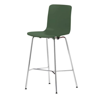 Grey Asparagus Green Medium Hal Stool With Light-Coloured Metal Legs