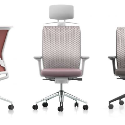 Wheeled ID Mesh Office Chair in Red, Light Violet, and Brown