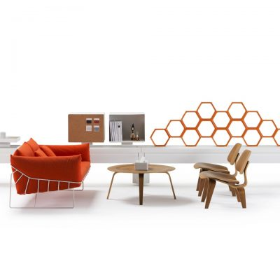Orange Coloured Wire Frame Sofa featured with other furniture