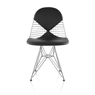 black Wire Chair with mesh windows and metal legs and support