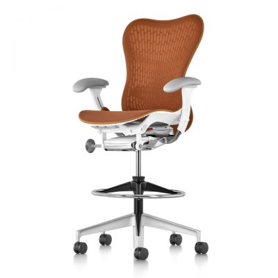 Rust Brown Mirra 2 Stool with Padded Armrests and Metal Wheeled Legs