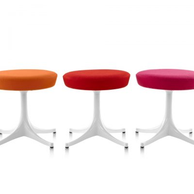 Multi-Coloured Plush Nelson Pedestal Stools with Metal Legs