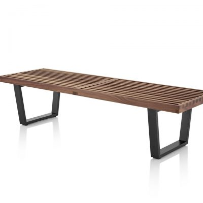 Slatted Nelson Platform Bench with Metal Legs